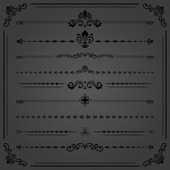 Vintage set of vector decorative black elements. Horizontal separators in the frame. Collection of different ornaments. Classic patterns. Set of vintage patterns