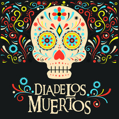 Mexico Day Of the Dead Skull decoration vector illustration