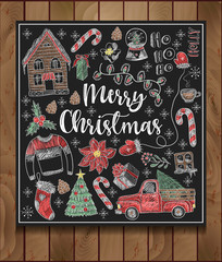 Banner of  Merry Christmas with elements painted colored chalk on blackboard. Vector.