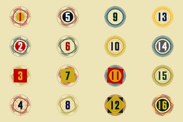 Numéros chiffres sur des stries de formes géométriques en couleurs