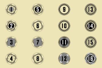 Numéros chiffres sur des stries de formes géométriques en noir