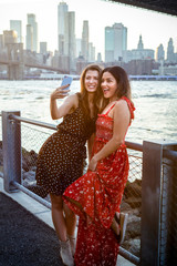 Tourists taking selfie in New York