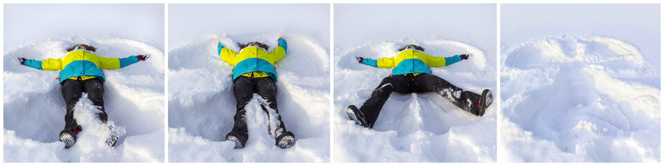 Cheerful and happy girl lying on snow and making snow angel, flapping his arms and legs in different directions, enjoying and rejoicing winter, collage of photos.