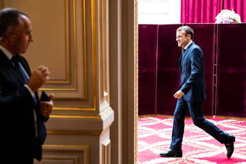 French President Emmanuel Macron arrives prior to his discourse on the transformation of the French healthcare system at the Elysee Palace in Paris