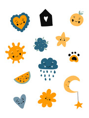 Poster cute set Scandinavian kids cartoon characters: arrows, feather, branch leaf hearts stars in black blue yellow colors. White background isolated. Vector illustration. Yellow, blue, black colors.
