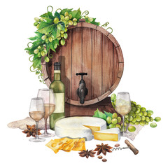 Watercolor barrel with wine glasses and bottle, cheese and grapes