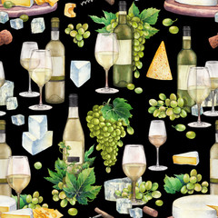 Watercolor wine glasses and bottles, white grapes, cheese, cork and corkscrew