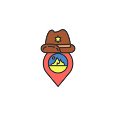 pin cowboy hat colored icon. Element of wild west icon for mobile concept and web apps. Cartoon pin cowboy hat icon can be used for web and mobile
