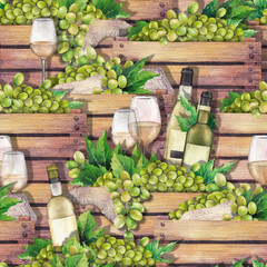 Watercolor wooden boxes with bottles, glasses of white wine and white grapes