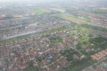 Top view of city from aerial photos.  Housing estate landscape.
