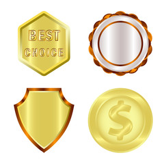 Vector illustration of emblem and badge logo. Collection of emblem and sticker stock symbol for web.