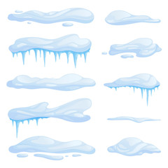 Set snowdrifts in different shapes and sizes. Drifts with icicles. Vector illustration