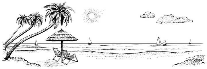 Panoramic beach view. Vector illustration of seaside with palms, two chairs, umbrella and yachts.