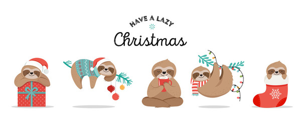 Cute sloths, funny Christmas illustrations with Santa Claus costumes, hat and scarfs, greeting cards set, banner