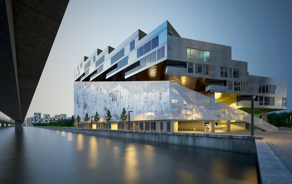 3d render building exterior at night