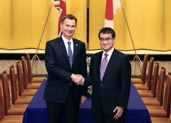 British Foreign Secretary Jeremy Hunt meets with Japanese Foreign Minister Taro Kono in Tokyo