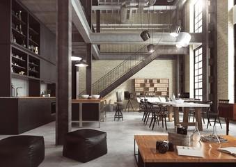 Fototapeta Loft - nowoczesne wnętrze w industrialnym stylu zaprojektowane jako mieszkanie o otwartym planie z kuchnią, jadalnią, pokojem dziennym oraz domowym biurem na parterze i sypialnią na antresoli. obraz