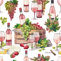 Watercolor box with bottle and grapes, wine glasses, cheese and srtrawberries