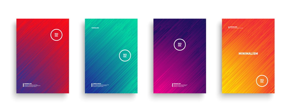 Dynamic Flow Lines with Vivid Colors Vector Minimalist Style Brochure, Cover, Flyer, Book Design Template. Contemporary Digital Glitch Art Conceptual Illustration