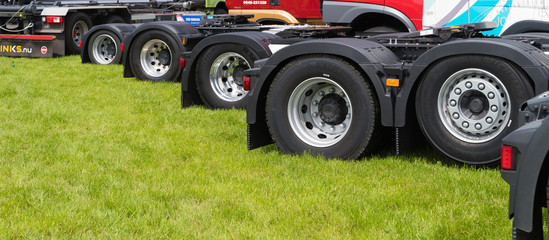 lots of truck wheels