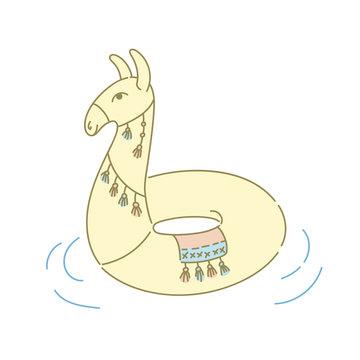 Llama or alpaca pool ring floater toy