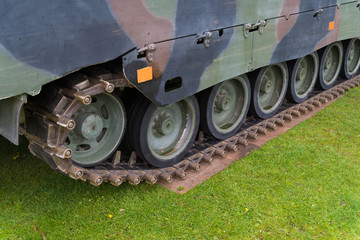 tank wheels closeup