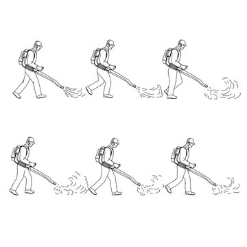 Gardener With Leaf Blower Walk Sequence Drawing