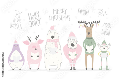 Hand drawn vector illustration of a funny singing Santa, elf ...