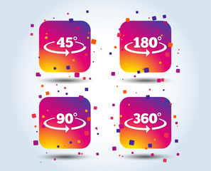 Angle 45-360 degrees icons. Geometry math signs symbols. Full complete rotation arrow. Colour gradient square buttons. Flat design concept. Vector