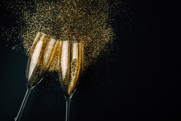 Golden champagne toast