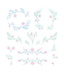 Floral set of vignettes