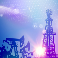 Oil tower with derrick crane on science blue background. Industrial equipment for fuel production. Vector illustration.