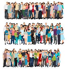 Fotobehang Kinderkamer vector, isolated, set, flat style crowd of people