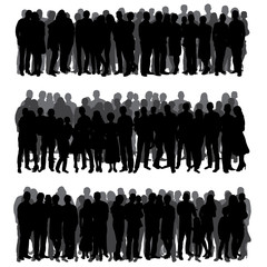 vector, isolated, set silhouette of a crowd of people