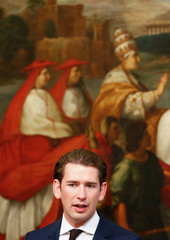 Austrian Chancellor Sebastian Kurz talks during a news conference with Italian Prime Minister Giuseppe Conte at Chigi palace in Rome