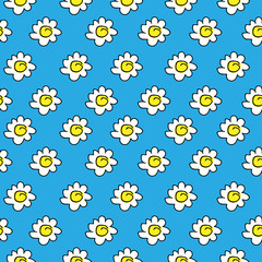 floral blue seamless chamomile drawing. vector illustration. White daisies seamless pattern on a bright background.
