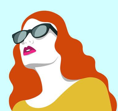 Beautiful redhead woman wearing sunglasses