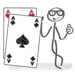 Strichmännchen hält Spielkarte Pik As
