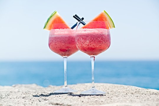 fresh cold delicious watermelon smoothie