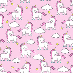 Vector pattern with funny unicorns, clouds and stars.