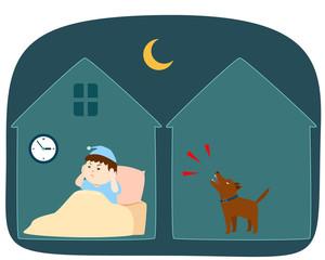Neighbor's dog barking loudly at night vector cartoon.