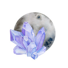 Crystals with circle shape. Moon with gems in watercolor design