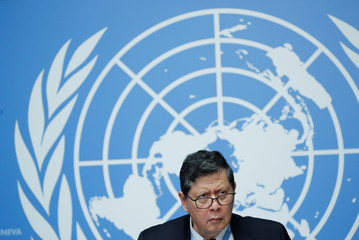 Darusman chairperson of the  Independent International Fact-finding Mission on Myanmar attends a news conference at the UN in Geneva