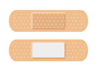 Adhesive medical plaster strip bandage. Medical patch aid strip
