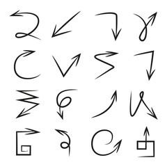hand drawn arrows, vector illustration