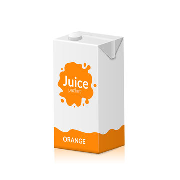 Blank juice carton branding box. Juice or milk cardboard package. Drink small box illustration