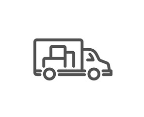 Truck transport line icon. Transportation vehicle sign. Delivery symbol. Quality design element. Classic style truck. Editable stroke. Vector