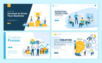 Set of web page design templates for creative process, business success and teamwork, marketing consulting. Modern vector illustration concepts for website and mobile website development.