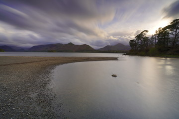 a view of platty plus jetty lake at derwentwater lake in lake district national park united kingdom