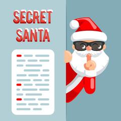 Secret santa claus peeking out corner cartoon character flat design poster isolated vector illustration